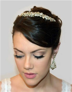 "The Palisades headpiece is a flexible band of Swarovski rhinestone clusters that can be worn across the top ""tiara style"", or in back of your hairstyle."