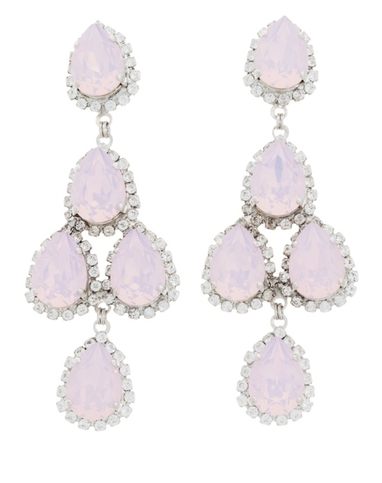 Designer Erickson Beamon's Pink Duchess of Fabulous statement earrings will bring powerful pop of glamour to any black tie or bridal ensemble. Pale pink pear-shaped Swarovski crystals dangle in a flattering chandelier-style drop setting, accented by sparkling round brilliant cut colorless crystals. With their pretty pink hue and bold proportions, these earrings strike the perfect balance between classic and modern style.