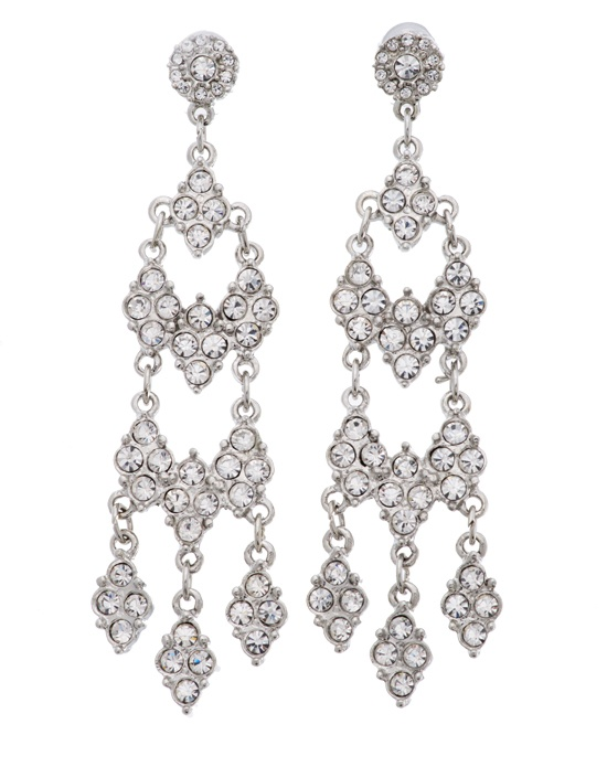 When it comes to wedding jewelry, these chandelier style bridal earrings from designer Kenneth Jay Lane are a timelessly elegant choice. Sparkling round brilliant cut Swarovski crystals seem to cascade downwards in their silver plated setting, creating a stunning and eye-catching visual effect.