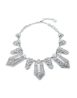 Let your wedding jewelry shine in roaring twenties style with this striking bridal necklace from designer Ben Amun. A scintillating mix of round brilliant and baguette cut Swarovski Crystals bring plenty of sparkle to this bold Art Deco style jewel.