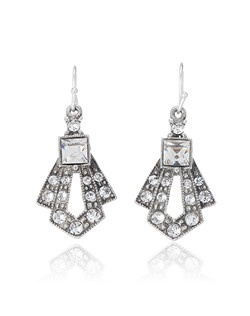 If you're looking for the perfect crystal drop earrings to add just a hint of 1920s style to your ensemble, look no further. Though these earrings are somewhat dainty, they still offer plenty of Swarovski crystal sparkle and classic Art Deco style. The perfect Gatsby-style piece to accent any outfit.