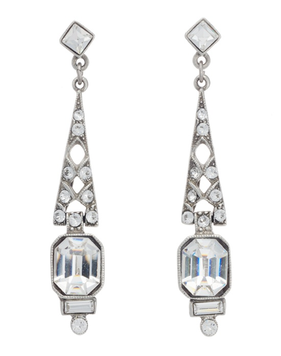 Lend a sparkling splash of vintage style to any bridal or formal look with these elegant drop earrings from designer Ben Amun. Large emerald cut Swarovski crystals catch the light beatifully in their milgrain setting, while round, square, and baguette cut crystals provide a dazzling accompaniment. With their feminine, old world look, these earrings are instant wear-forever classics.