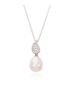 A shimmering freshwater cultured pearl mingles with sparkling white topaz gemstones in this lovely sterling silver pendant from Thomas Laine Pearls. **Looking for a timeless and utterly wearable jewelry choice for your bridesmaid gifts? In our collection of freshwater pearl and sterling silver jewelry you will find beautiful options to suit every style.