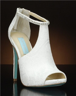 Peep toe cut out bootie with lace overlay and jeweled ankle strap