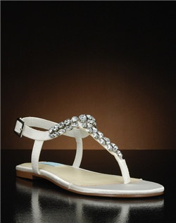 T-strap flat sandal with jewel embellishment