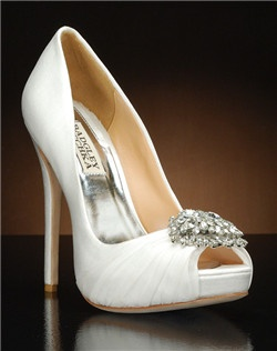 Platform peep toe pump with chiffon overlay and crystal embellisment
