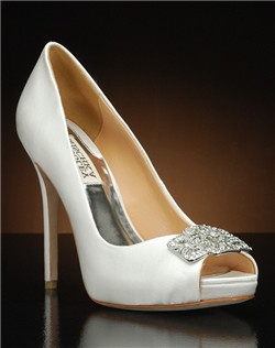 Peep toe platform pump with crystal embellishment