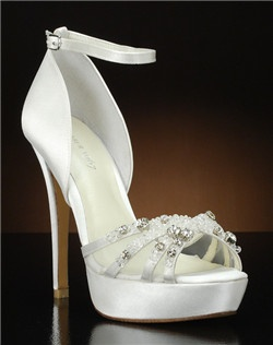 Peep toe ankle strap platform with mesh panels and beaded embellishment
