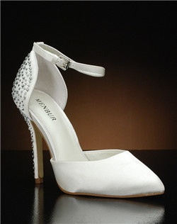 Pointy toe d'orsay heel with ankle strap and crystal detail on heel