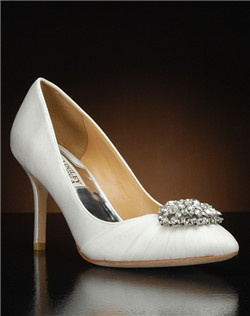 Pointed toe pump with chiffon overlay and crystal embellishment
