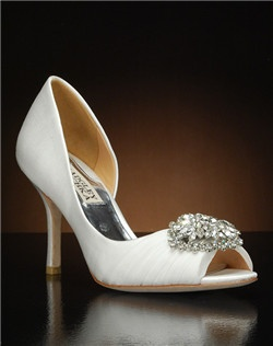 Partial d'orsay peep toe with crystal embellishment