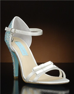 Open toe strappy heel with crystal encrusted heel