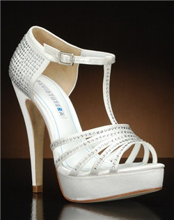 Strappy platform heel with cystal accents