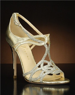 Strappy ankle strap pump with gold glitter