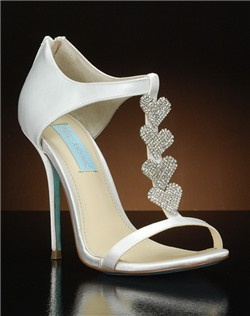 Open toe t-strap pump with crystal hearts along the t-strap