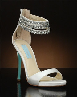 Open toe ankle strap pump with triple ankle straps covered in jewels