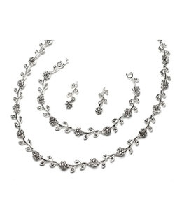 This jewelry set is encrusted with genuine Austrian rhinestones on a brilliant silver-tone setting