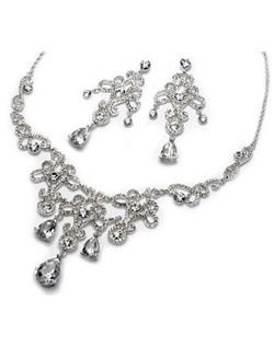 Diana Wedding Jewelry Set is a spectacular, silver plated jewelry set that is encrusted with brilliant, sparkling rhinestones in an intricate brocade like design.