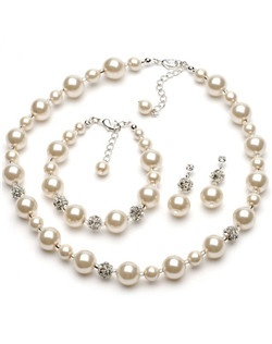Jewelry Set is made with 12 mm glass pearls (not plastic) and accented with pave crystal balls.