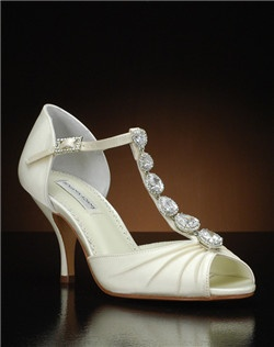 Peep toe d'orsay with jeweled t-strap