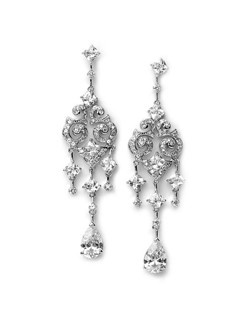 Amelia Chandelier Wedding Earrings are designed with an antique-style scroll pattern and five sizes of Cubic Zirconia.