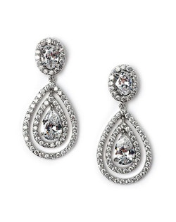 The center CZ tear drop is surrounded by larger concentric ovals of shimmering CZ stones.