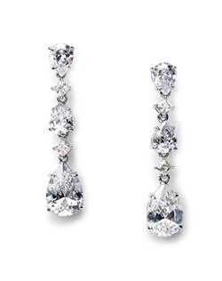Rachael CZ Wedding Earrings are designed with diamond and pear-shape Cubic Zirconia stones.