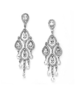 Each earring has five multi-faceted Swarovski crystals with the rest of the earring made with 100% Cubic Zirconia stones in a rhodium plated setting.