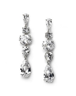 These Cubic Zirconia earrings are rhodium plated and feature a cascade of various shaped CZ stones.