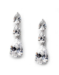 They are formal earrings consisting of three large gorgeous tear shaped rhinestones that dangle down from the ear piece.