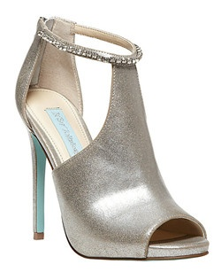 """Have the DATE set now just need the shoes? Dazzling crystals along ankle strap adds just the right touch to a graceful peep-toe bootie.                                                           •  Textile upper/synthetic lining and sole       •  Zip entry at heel       •  Crystal embellished ankle strap       •  Peep toe       •  4.5"""" covered stiletto heel"""