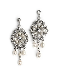 These drop earrings feature fresh water pearls and rhinestones in an oval filigree pattern and accented at the bottom with 3 strands of dangling pearls.