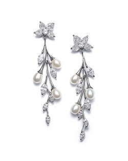 They are hanging silver earrings in a stunning vine-like floral design.