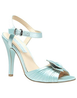 """Twinkly rhinestones accent the buckle on a gathered-satin sandal perched on a signature """"something blue"""" sole.        •  Satin upper/synthetic lining and sole       •  Adjustable strap with buckle closure       •  4"""" heel (size 8.5)"""