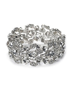 This floral bracelet is accented sparkling clear rhinestones set in a rhodium plated vine pattern.