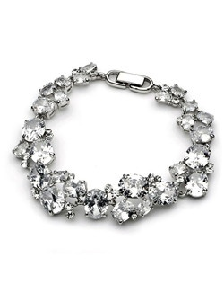 An abundance of multi-sized Cubic Zirconia stones placed in clusters amongst a rhodium-plated bracelet.