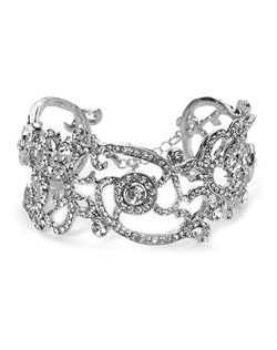 This bracelet is designed with Genuine Austrian Rhinestones and sterling silver plate.