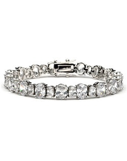 This wedding bracelet is made with brilliant Cubic Zirconia stones.