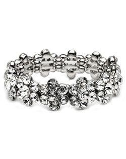 This bracelet features floral groupings of beautiful round cut rhinestones set a stretch band for comfort and a perfect fit.