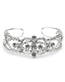 Rhinestone Swirl Bracelet is silver plated and encrusted with sparkling rhinestones.