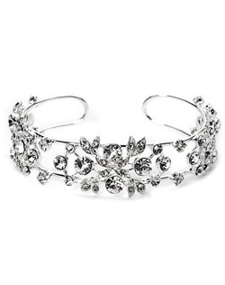 This silver plated wedding bracelet features clear rhinestones in an exquisite design.