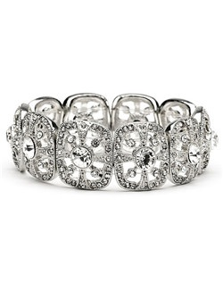 This bridal bracelet is rhodium plated and encrusted with sparkling rhinestones.