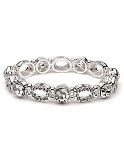 This contemporary design is made up of rhinestone encrusted oval shapes mixed in with chunky round rhinestones.