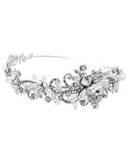 This stunning antique silver headband features brilliant rhinestones, crystals and pearls.