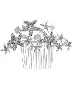 This unique comb is perfect for the destination or beach wedding. Features rhinestone encrusted starfish and light ivory pearls for a look that is true to the sea!