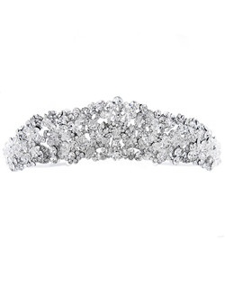 Exquisite tiara features hundreds of rhinestones and Swarovski crystals clusters in a floral design.