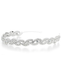This magnificent wedding headband glistens with crystals in a beautiful braided design.