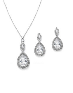 "Our dewdrops jewelry set will compliment your special occasion and turn heads! These earrings feature framed drops in a dangling design with earrings measuring 1"" in length, necklace measuring 16"" and has a 2"" extender."