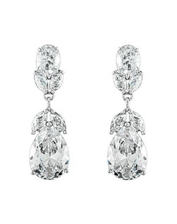 "These stunning earrings feature sparkling cubic zirconia stones with shapes of marquise and pears that dangle with brilliance. Earrings measure 1 1/4"" in length."