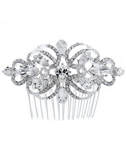 This beautiful comb features sparkling rhinestone encrusted scrolls with CZ accents.